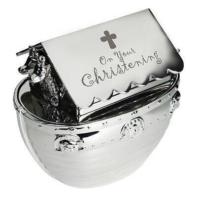 Silver Noahs Ark ON YOUR CHRISTENING Engraved Moneybox Gift
