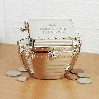 Personalised Noah's Ark Money Box Christening Birthday Engraved Moneyboxes Gift