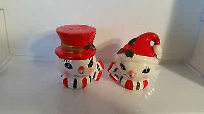Vintage Lefton Japan Christmas Mr. And Mrs. Snowman Salt & Pepper Shakers