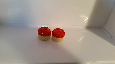 Vintage Red Rose And Cream Salt & Pepper Shakers