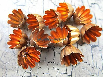 12 Pieces Vintage Fluted Gold Tone Bead Caps 12mm USA Made/ Unused Vintage Stock