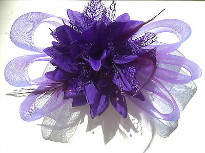 Purple Feather Fascinator Clip Pin Ladies Day Race Party Wedding