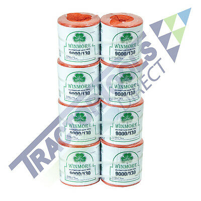 8-Pack Orange Baler Twine 9000' 130 Pound Strength for Hay and Pine Straw Balers