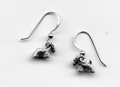Sterling silver SCOTTISH TERRIER SCOTTY 3D Dog Earrings 10X6mm apx 2 Grams