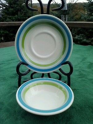 BUFFALO CHINA DESSERT/BERRY/POT PIE BOWL & MATCHING SAUCER/BLUE & GREEN STRIPE