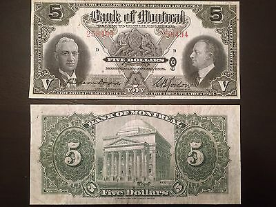 Reproduction Bank Of Montreal $5 Bill 1938 Chartered Note Five Dollars