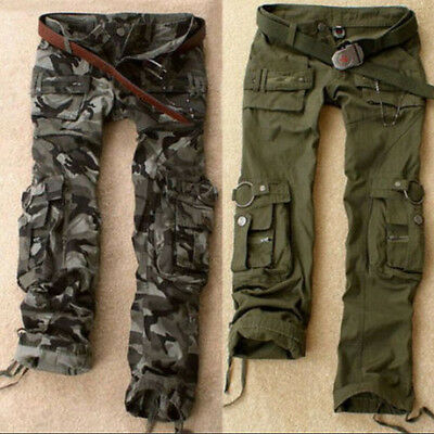 Womens Military Army Fashion Green Cargo Pocket Pants Leisure Trousers Outdoor