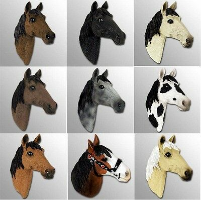 Realistic Hand Painted Cold Cast Stone Resin Set of Nine Horse Head Magnets