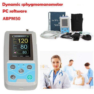 24h NIBP Holter Ambulatory Blood Pressure Monitor ABPM50+Oximeter