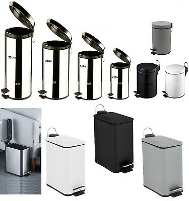 Stainless Steel Pedal Bin Home Office Kitchen Bathroom Toilet Rubbish Waste Bin