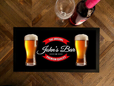 Personalised any name Beer glasses red label bar runner Pub Bar MAT ..ANY NAME..
