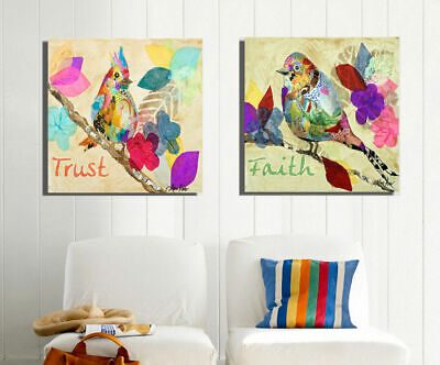 Abstract Colour Love Birds Stretched Canvas Print Framed Wall Art Decor Painting