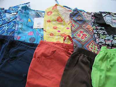 Women Lot Of Scrub Sets, 5 Tops, 5 Pants, Very Nice Mixed   Size S  (Box 240)
