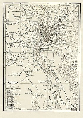 Original 1910 Tramway Map CAIRO Egypt Mosques Railroads Canals