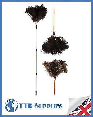 "MULTI PACK Genuine Dustease Premium Ostrich Feather Duster - 20""+ 28""+ 48-90"""