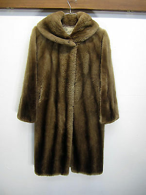 vtg Alfred Alexander Mink Fur Coat long soft brown striped 1950's Robe sz M