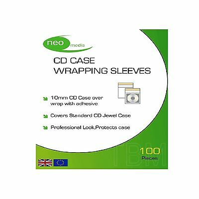 100 x CD JEWEL CASE WRAPS PACK OF 100 SOFT PLASTIC SLEEVE