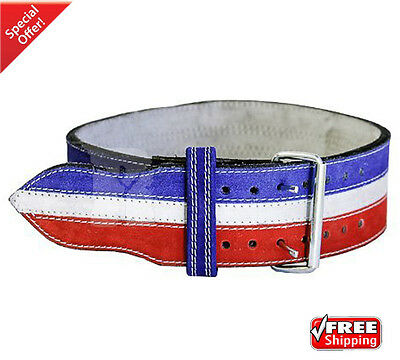 2Fit Nubuck Leather Weight Lifting Power Lifting Belt Back Support Blue+White XL