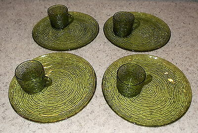 8 PC SORENO GLASS SNACK SET 4 PLATES 4 CUPS GREEN ANCHOR HOCKING EXCELLENT