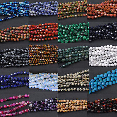 40Pcs Natural Gemstone Round Spacer Loose Beads  Lots Jewelry Making 4mm