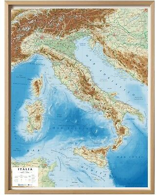 Italia 72X92 Cm Carta In Rilievo [Con Cornice] (Cartina/mappa) Lac 9788879144032