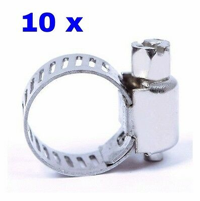 10 x Stainless Steel Hose Worm Drive Clamp 9-16mm - Air fuel water hose pipe