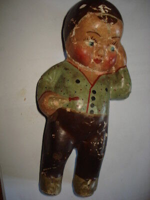"ANTIQUE  PAPIER MACHE DOLL TOY BABY BOY PAPIER MACHE DOLL 8"" 1920's HANDPAINTED"
