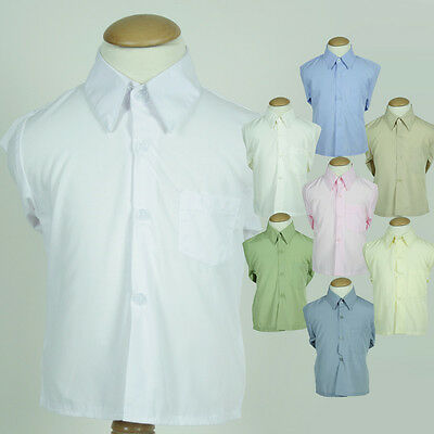 BNWT Boy Wedding Formal Cotton Dress Shirt White Blue Pink Cream Grey Green
