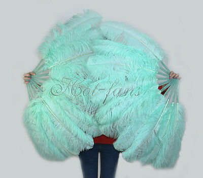 "A pair Mint Green Single-layer Ostrich Feather fan 24""x41"" burlesque dancer"