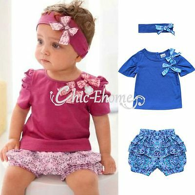 Toddler Baby Infant Girl Top+Shorts Pants+Headband Set Outfit Clothes Size 0 1 2