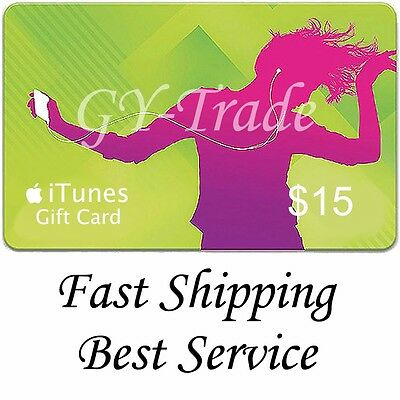 Apple iTunes $15 US Gift Card Voucher Certificate Code USA Dollars United States