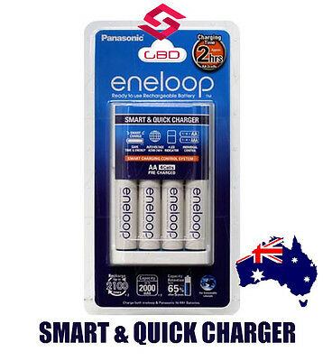 Panasonic Eneloop Quick 2hrs charger packed w/ 4x Eneloop AA Battery - AUS Plug