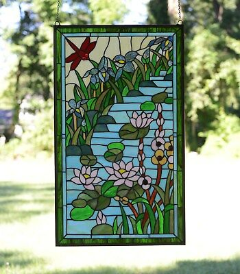 "20"" x 34"" Lg Decorative Tiffany Style stained glass window panel Dragonfly Lotus"