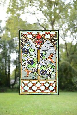 """20"""" x 34"""" Handcrafted Handcrafted stained glass window panel Humminbird Garden"""