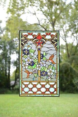 """20"""" x 34"""" Handcrafted Tiffany Style stained glass window panel Humminbird Garden"""
