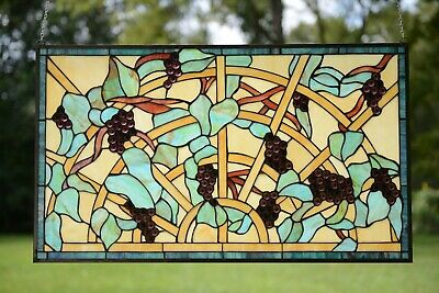 "34"" x 20"" Lg Handcrafted Jeweled Tiffany Style stained glass window panel Grape"