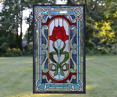 """20"""" x 34"""" Lg Home Decor Tiffany Style stained glass window panel Big Rose flower"""
