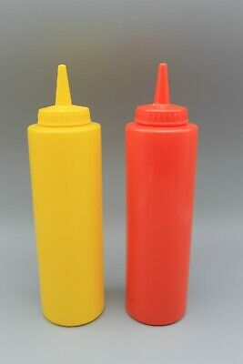 2 Condiment Dispenser Squeeze Bottle Plastic Ketchup-Mustard- BBQ Dining 12oz