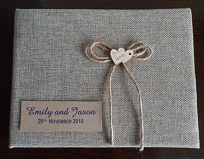 Personalised Guest Book Hessian Burlap Vintage Wedding Any Occasion 60/120 sides