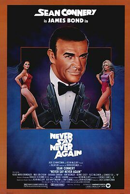 """NEVER SAY NEVER AGAIN Movie Poster [Licensed-NEW-USA] 27x40"""" Theater Size (Bond)"""
