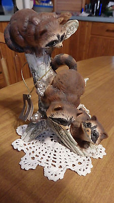 Homco    Masterpiece   Raccoon  Tree   Figurine
