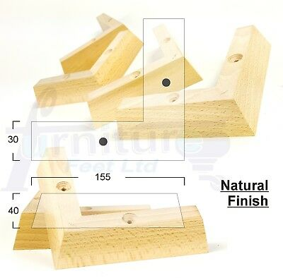 4x SOLID WOODEN FEET LEGS FOR SOFAS, CHAIRS, STOOLS, CABINETS & BEDS PRE DRILLED