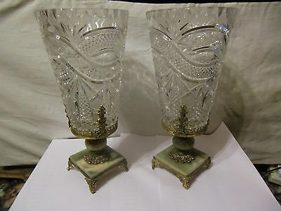 Pair of cut Glass Vases in Onyx and Gilt Stands - superb