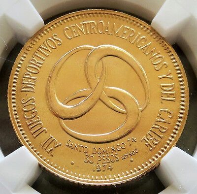 1974 Gold Dominican Republic 30 Pesos Central American Games Ngc Mint State 67