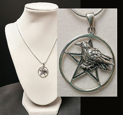 RAVEN PENTACLE  92.5 Solid Sterling Silver Pendant Pagan Odin Wicca Norse