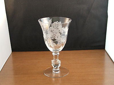 Heisey Glass Rose stem with Rose etching Goblet 12 ounces