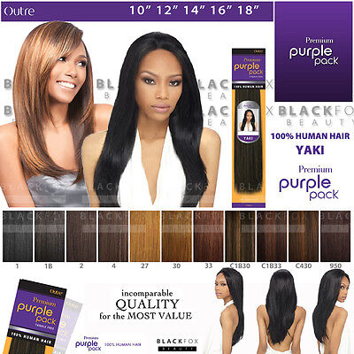"Outre Premium Purple Pack 100% Human Hair Yaki Weave 10"" 12"" 14"" 16"" 18"""