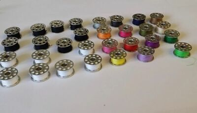 15 x standard sewing machine metal bobbins spools BLACK WHITE THREADS HOME NEW