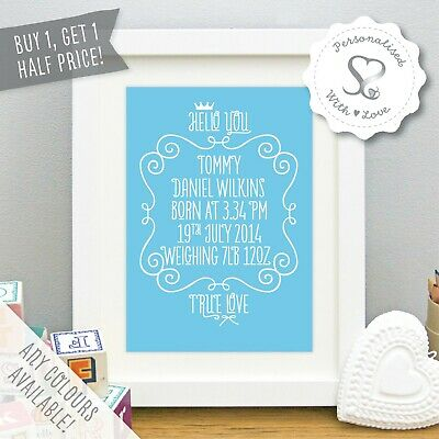Personalised Christening Gift New Baby Birth Details Print Nursery Art Picture