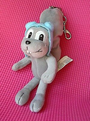 "Rocky Squirrel Plush Key Chain from Bullwinkle Show 8"" Gray Keychain"